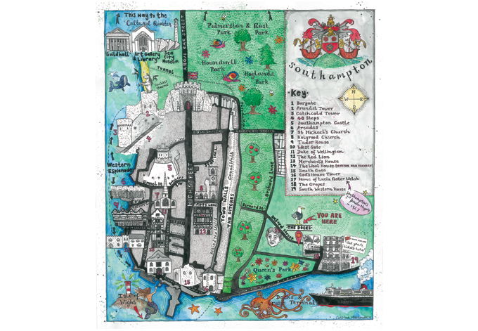 A Map of Southampton for The Dock's Coffee House, 2017 (Prints available from the cafe)